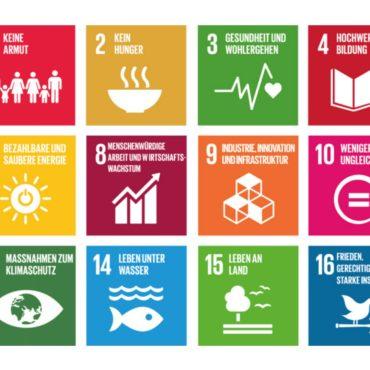 Foto das einige der UN-Ziele für globale Nachhaltigkeit als Symbole zeigt