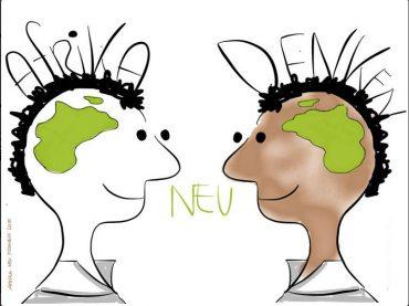 Illustration von zwei Personen, die Afrika neu denken