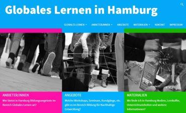 Screenshot der neuen Webseite für Globales Lernen in Hamburg